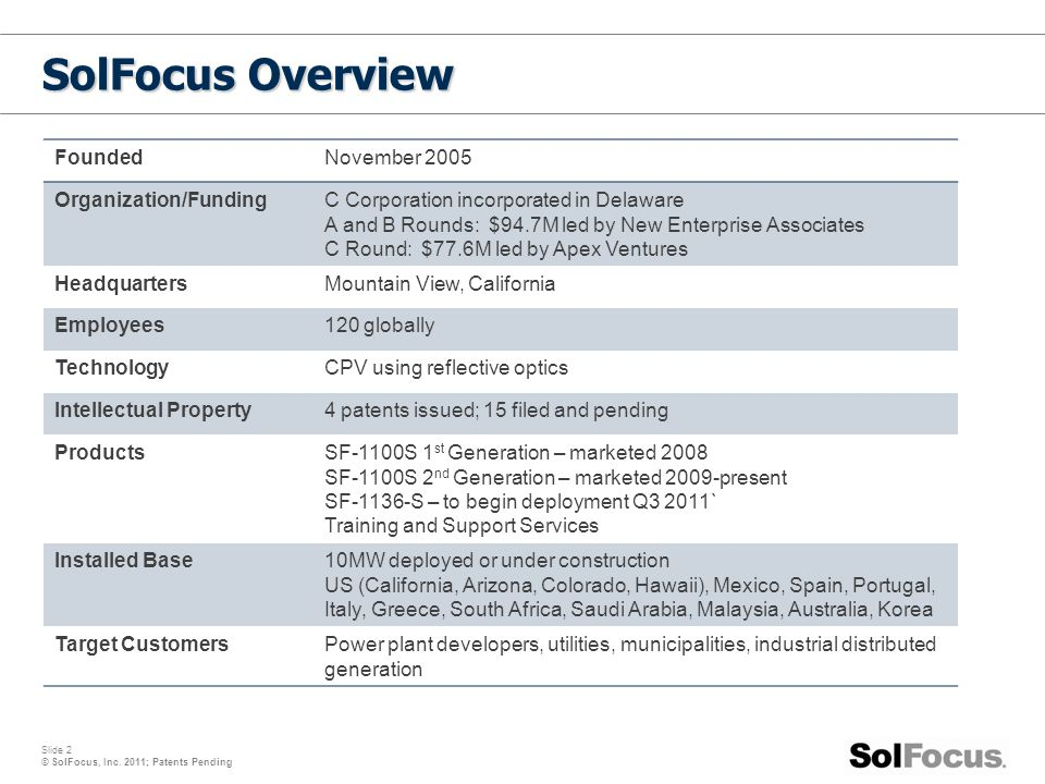 SolFocus Overview Founded November 2005 Organization/Funding