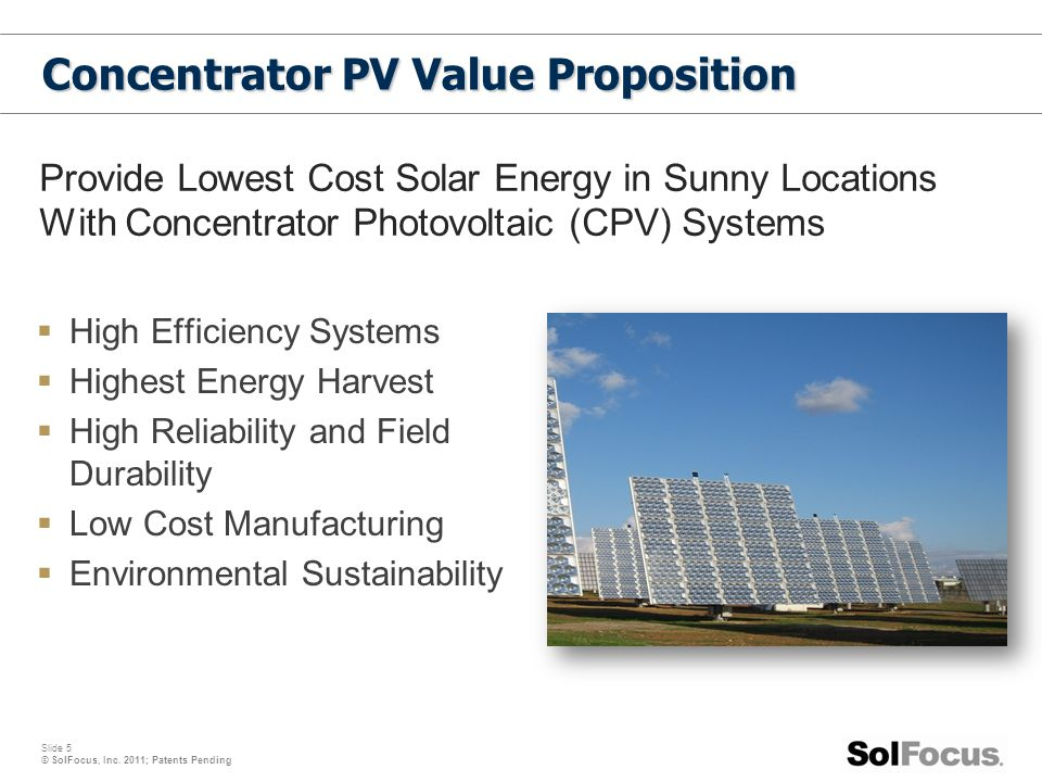 Concentrator PV Value Proposition