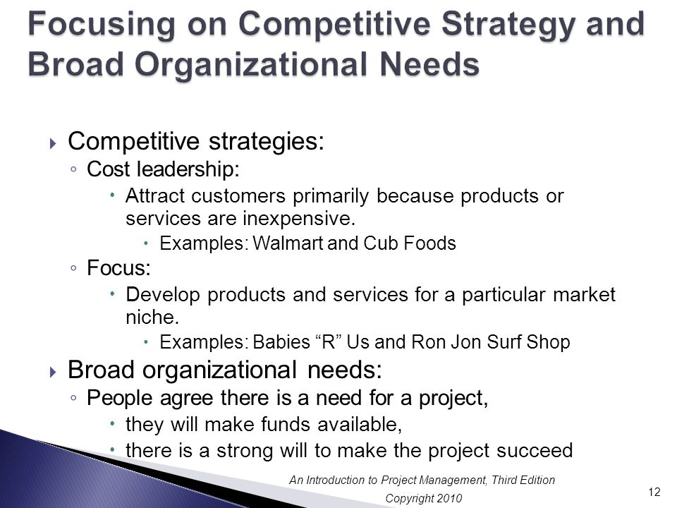 Focusing on Competitive Strategy and Broad Organizational Needs