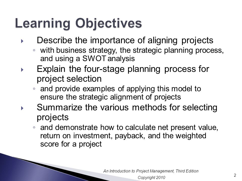 Learning Objectives Describe the importance of aligning projects