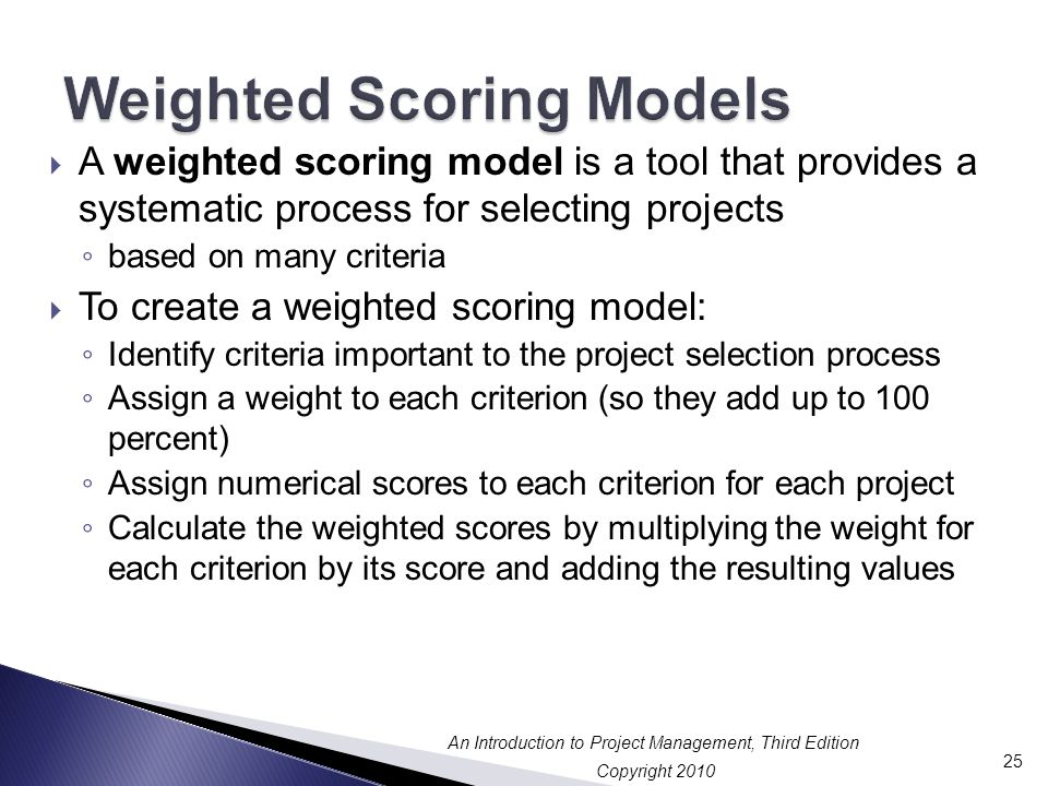 Weighted Scoring Models