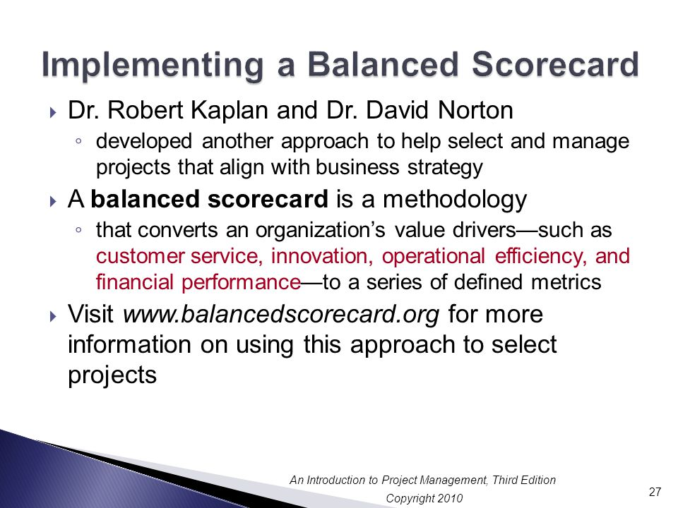Implementing a Balanced Scorecard
