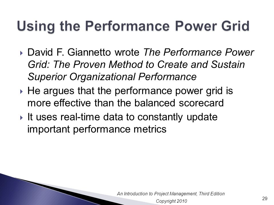 Using the Performance Power Grid