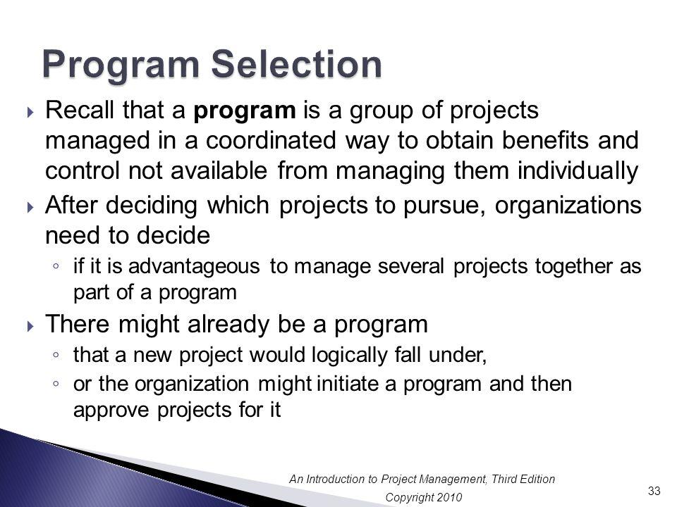 Program Selection