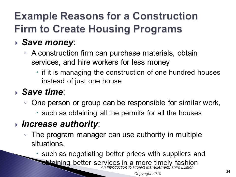 Example Reasons for a Construction Firm to Create Housing Programs