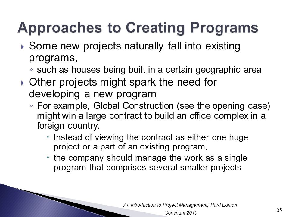 Approaches to Creating Programs