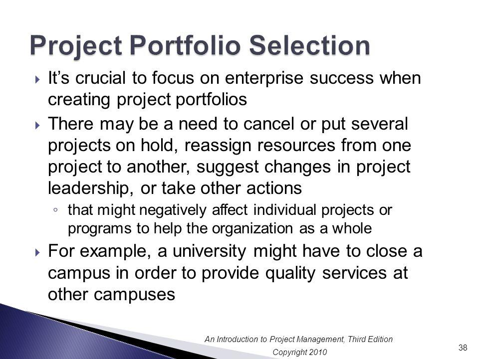 Project Portfolio Selection