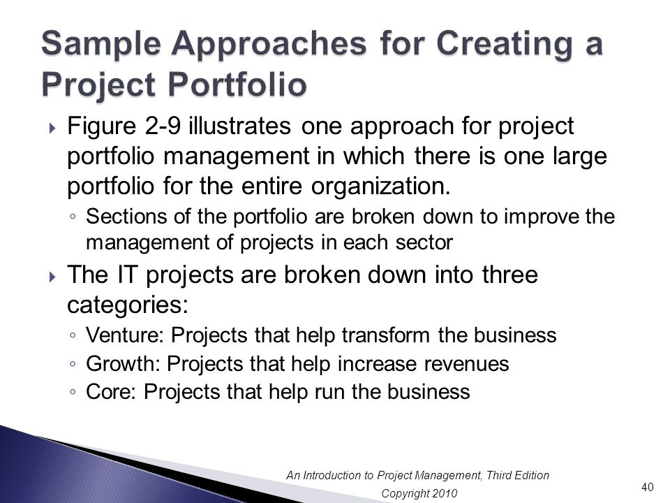 Sample Approaches for Creating a Project Portfolio