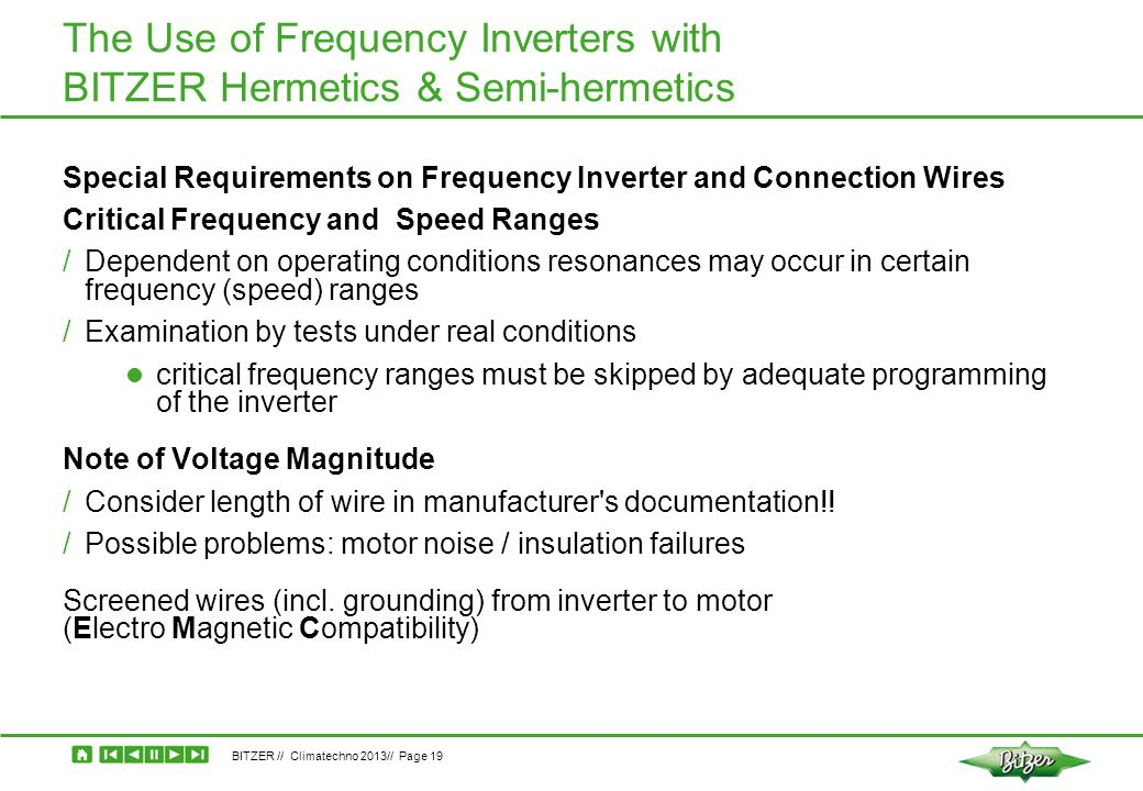 The Use of Frequency Inverters with BITZER Hermetics & Semi-hermetics