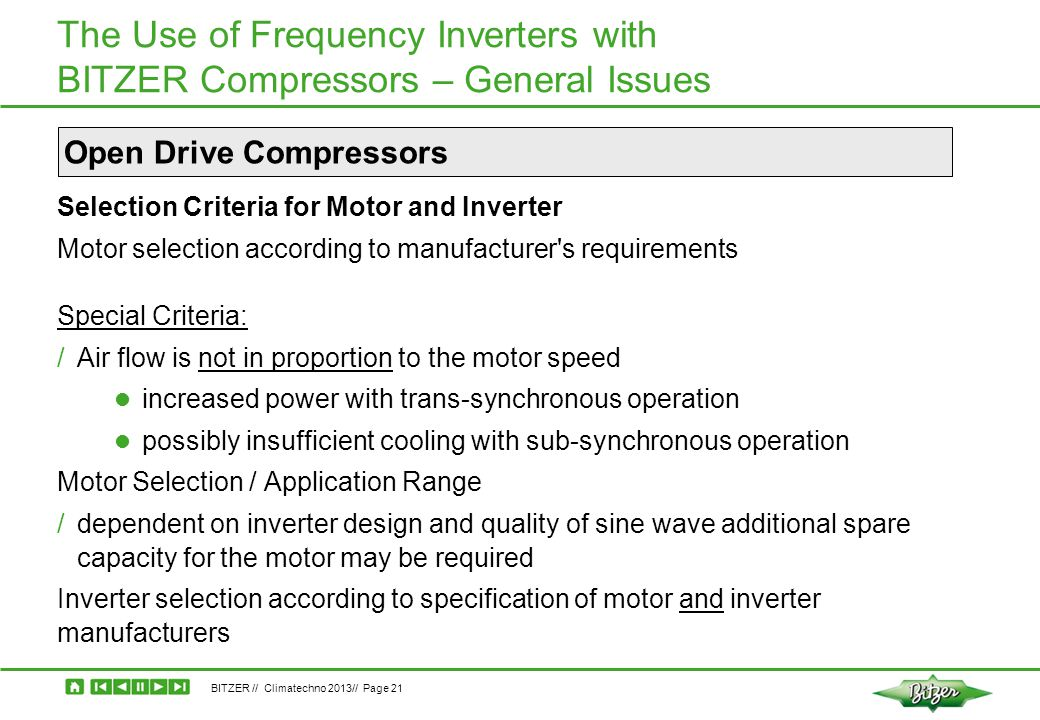 The Use of Frequency Inverters with BITZER Compressors – General Issues