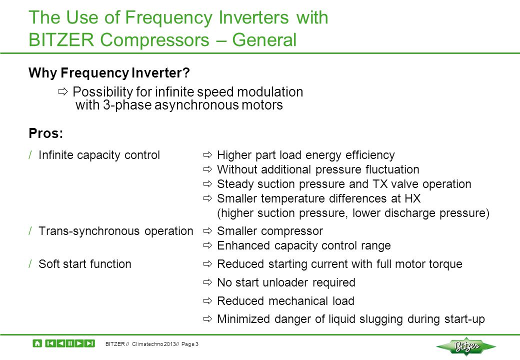 The Use of Frequency Inverters with BITZER Compressors – General