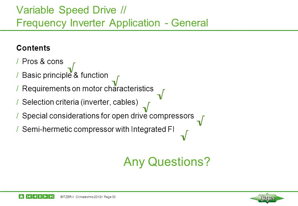 Variable Speed Drive // Frequency Inverter Application - General