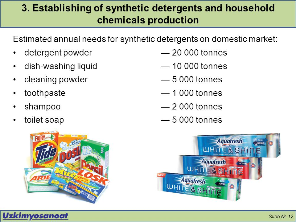 3. Establishing of synthetic detergents and household chemicals production
