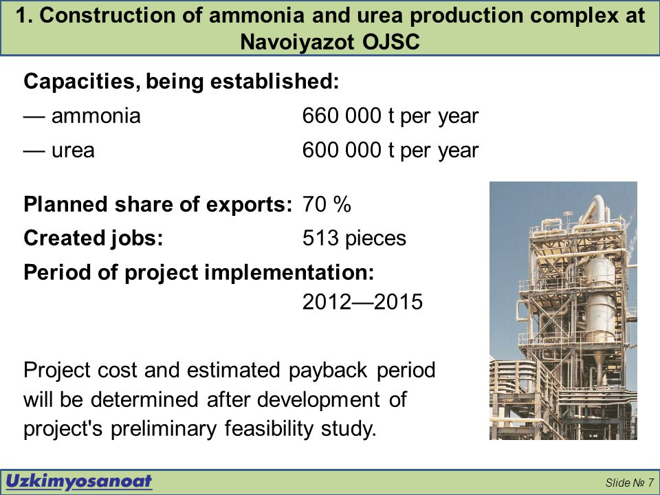 Capacities, being established: — ammonia 660 000 t per year