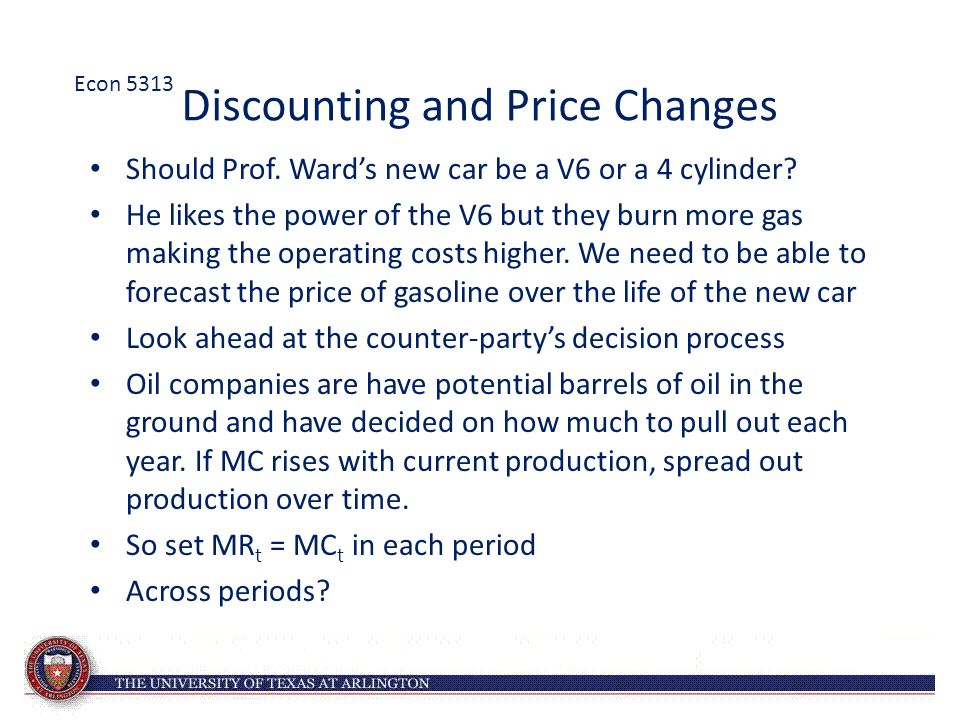 Discounting and Price Changes