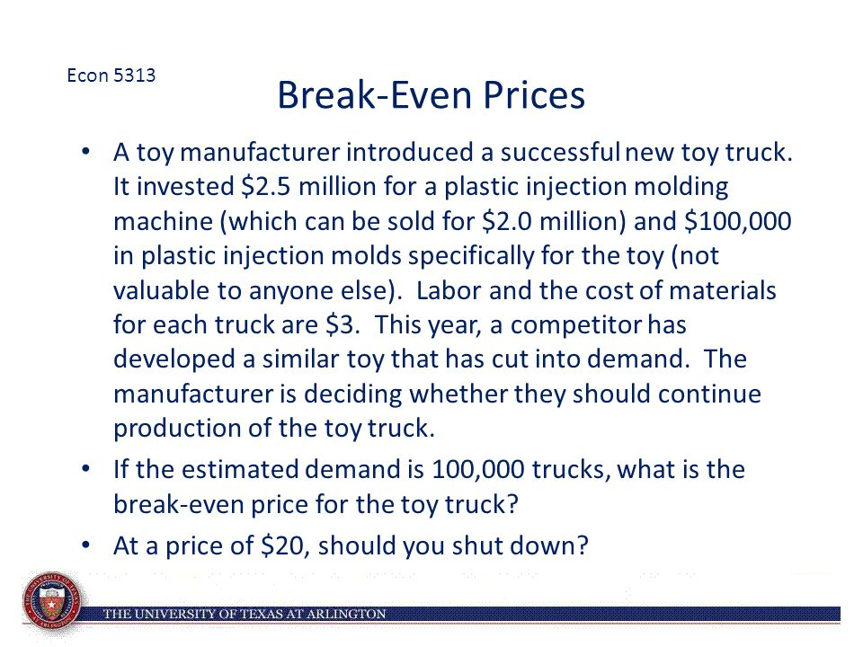 Econ 5313 Break-Even Prices.