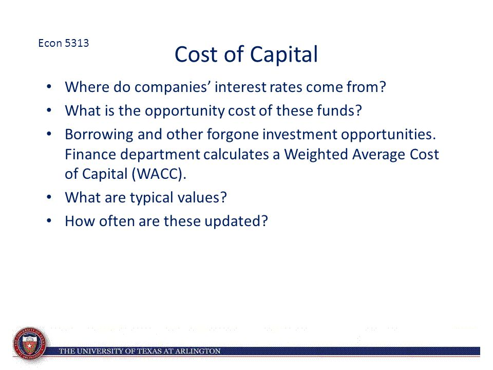 Cost of Capital Where do companies' interest rates come from