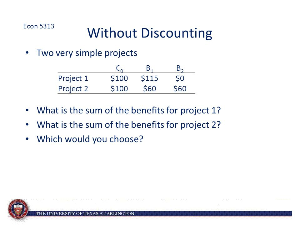 Without Discounting Two very simple projects