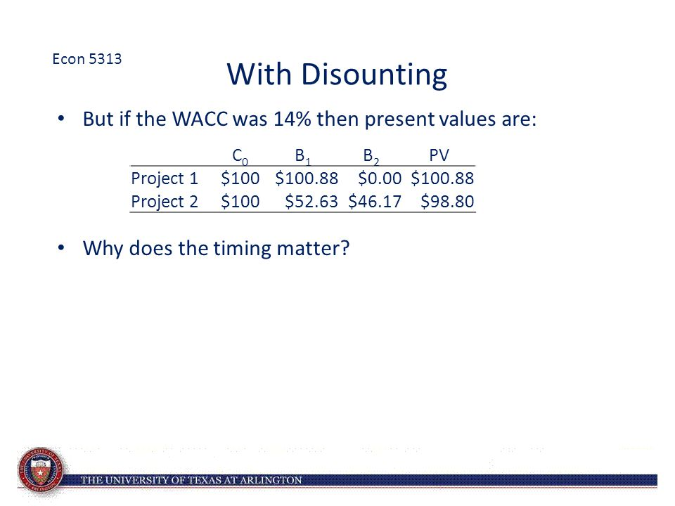 With Disounting But if the WACC was 14% then present values are: