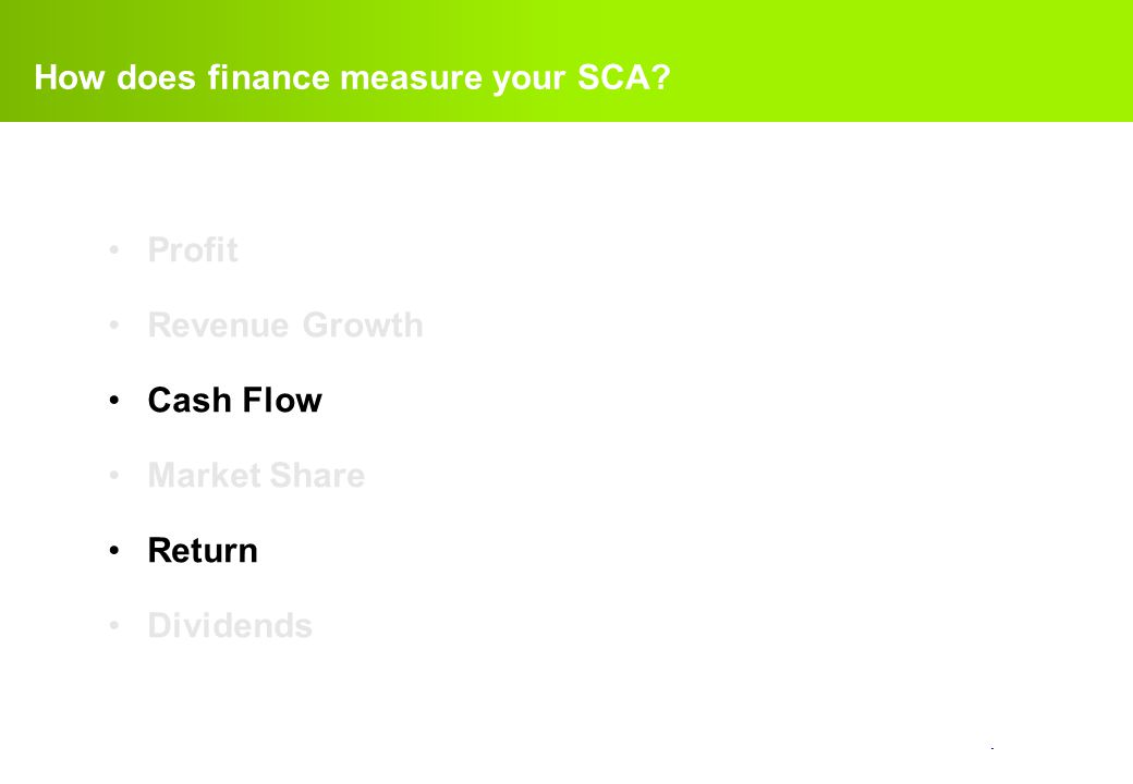 How does finance measure your SCA