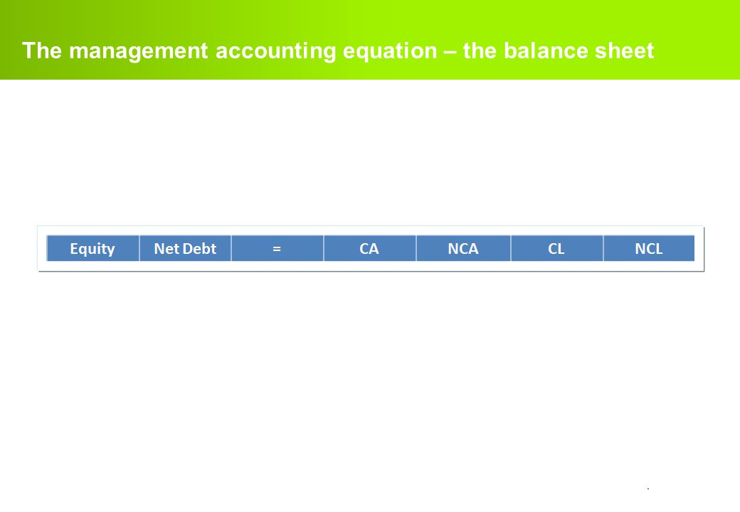The management accounting equation – the balance sheet