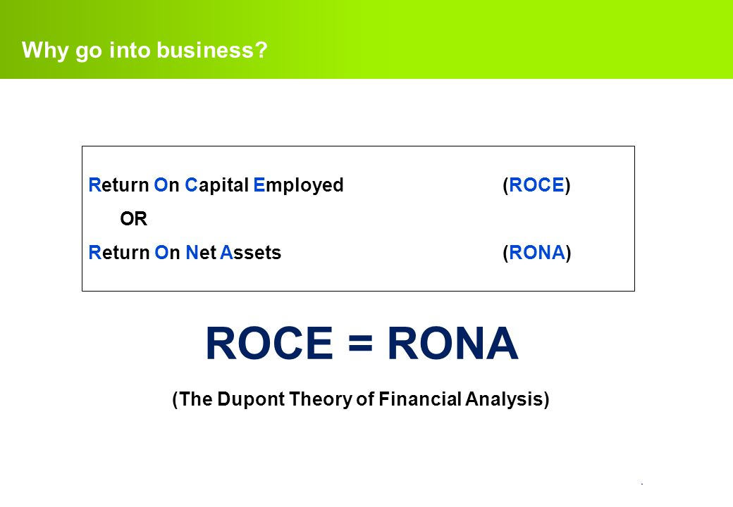 (The Dupont Theory of Financial Analysis)