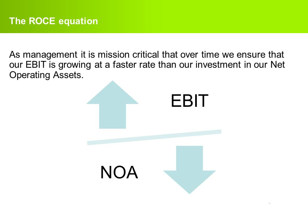 EBIT NOA The ROCE equation