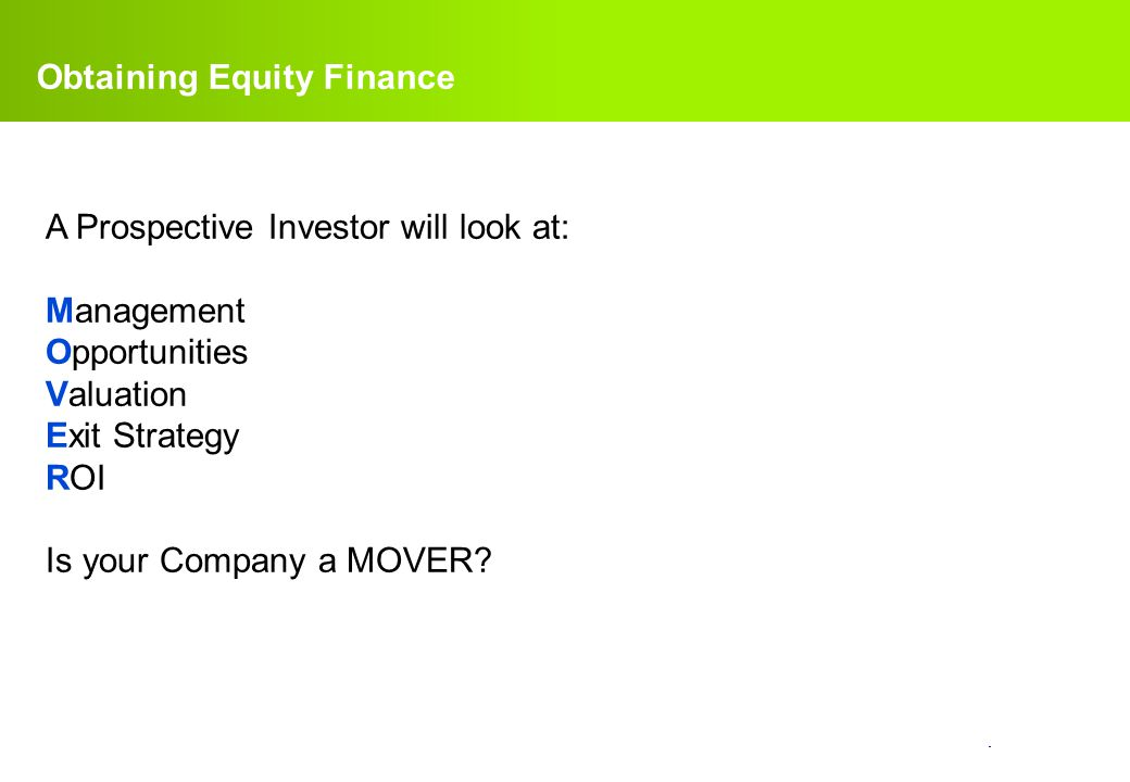 Obtaining Equity Finance