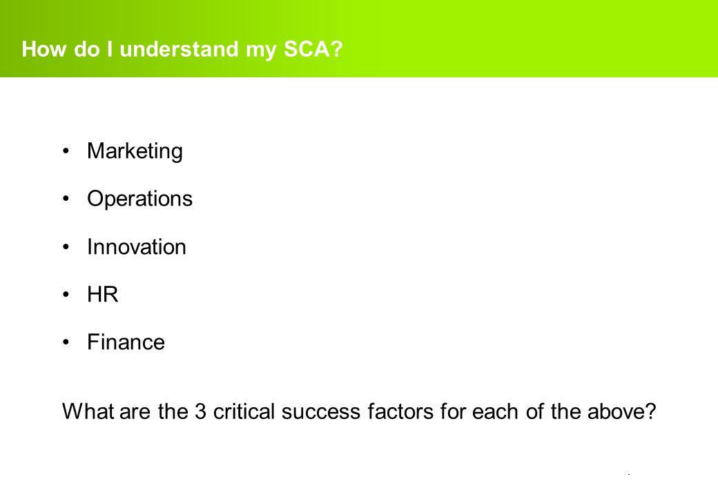 How do I understand my SCA
