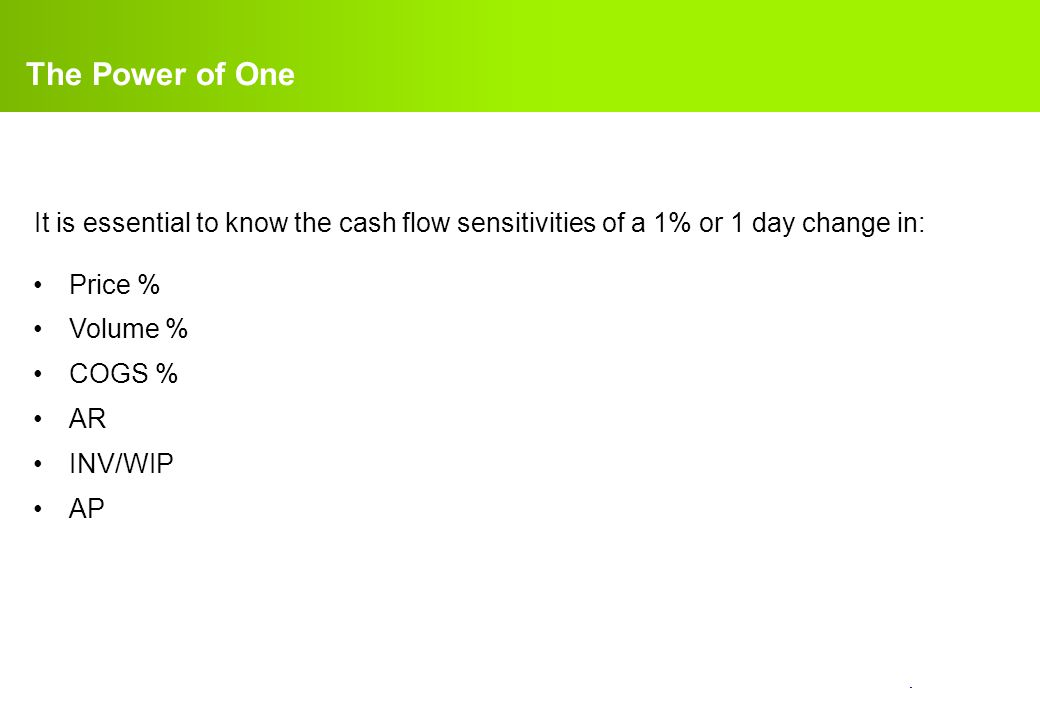 The Power of One It is essential to know the cash flow sensitivities of a 1% or 1 day change in: Price %