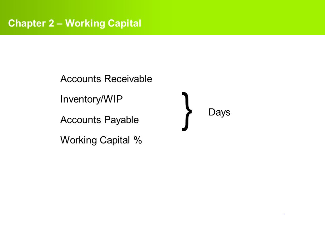 } Chapter 2 – Working Capital Accounts Receivable Inventory/WIP