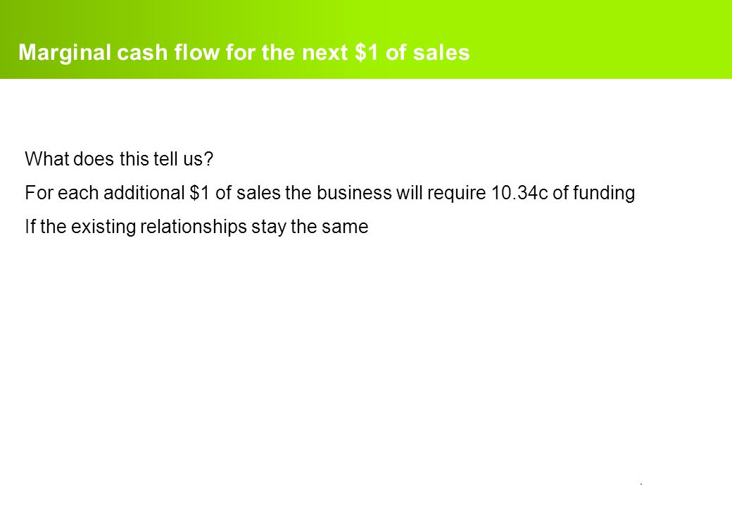 Marginal cash flow for the next $1 of sales