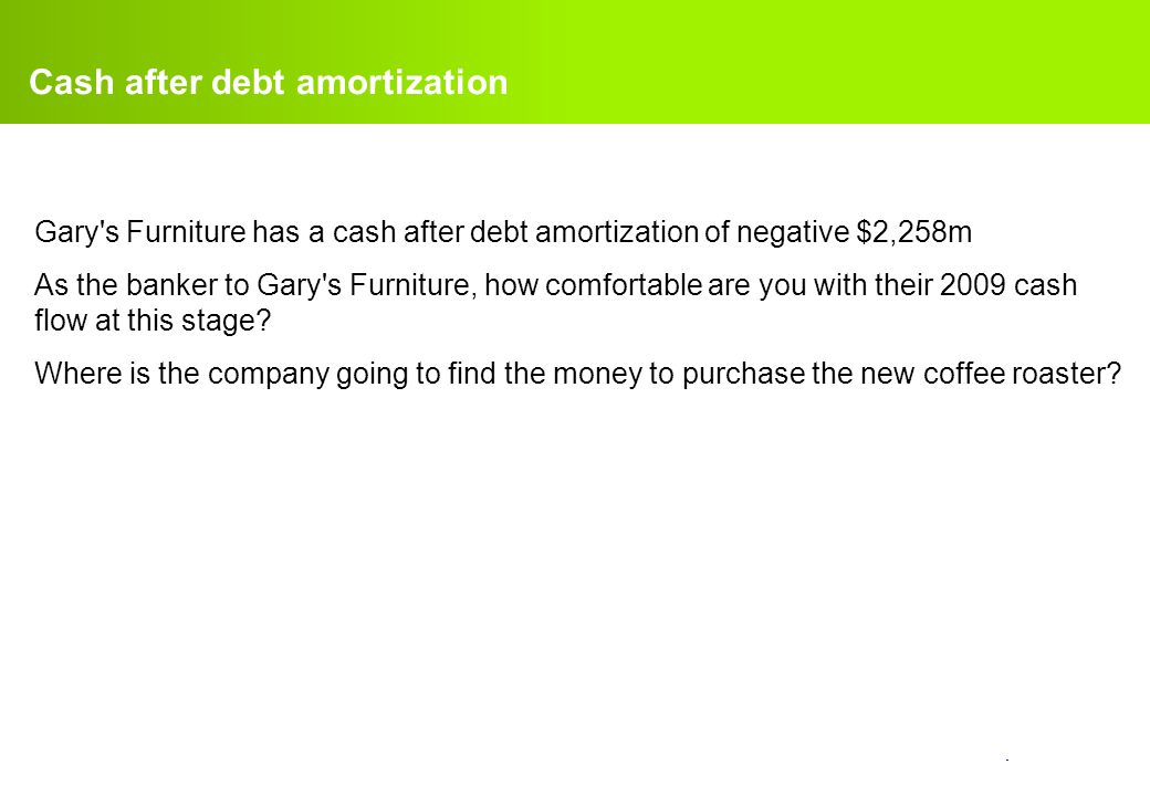 Cash after debt amortization