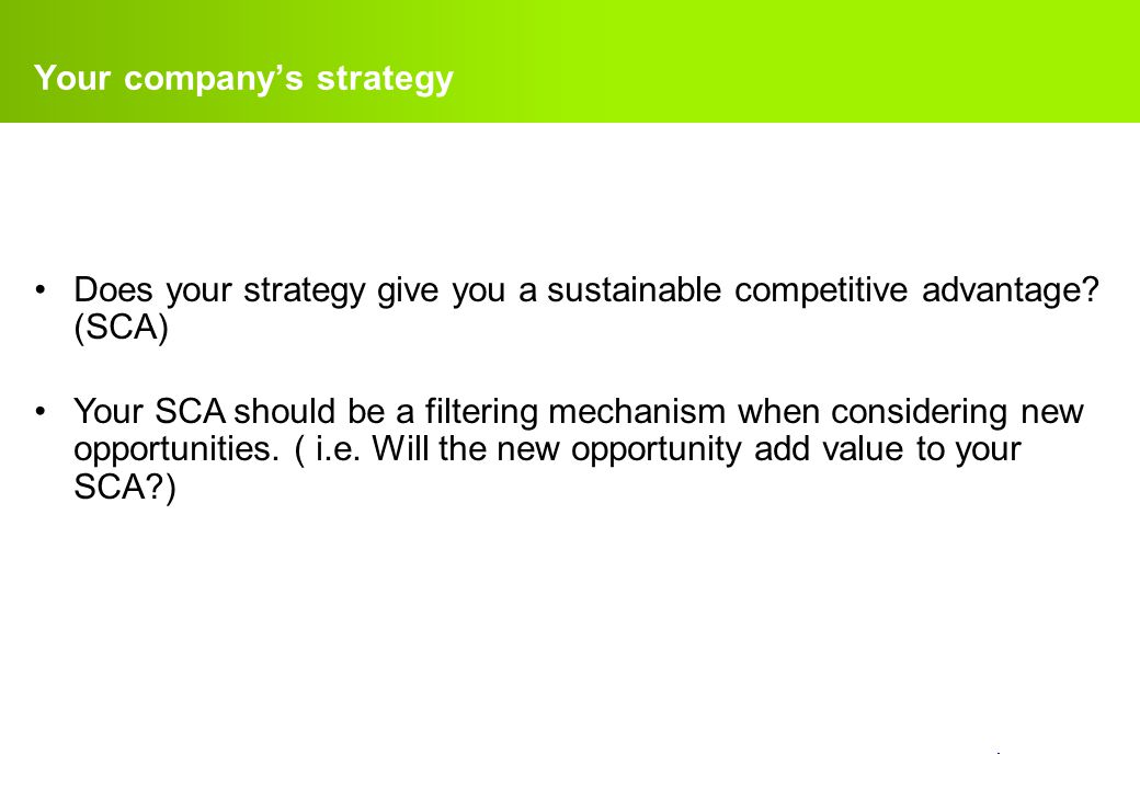 Your company's strategy