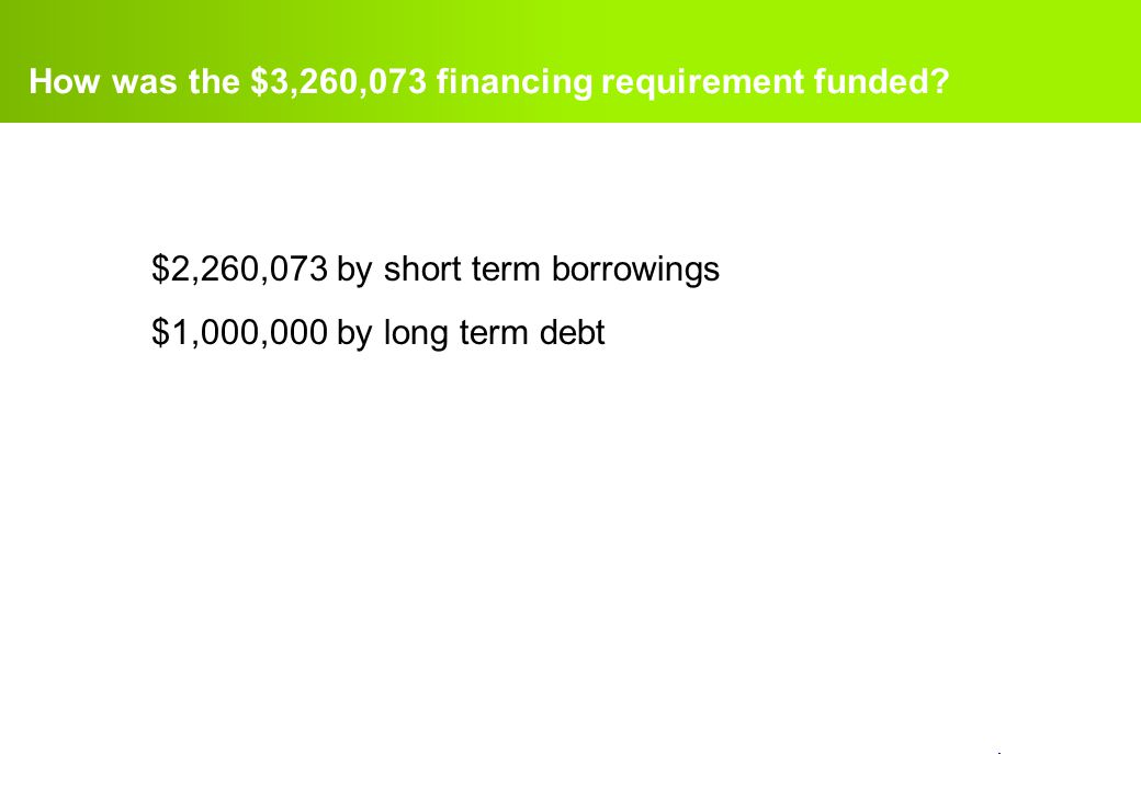 How was the $3,260,073 financing requirement funded