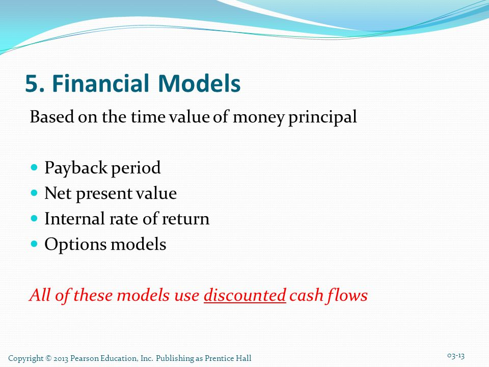 5. Financial Models Based on the time value of money principal