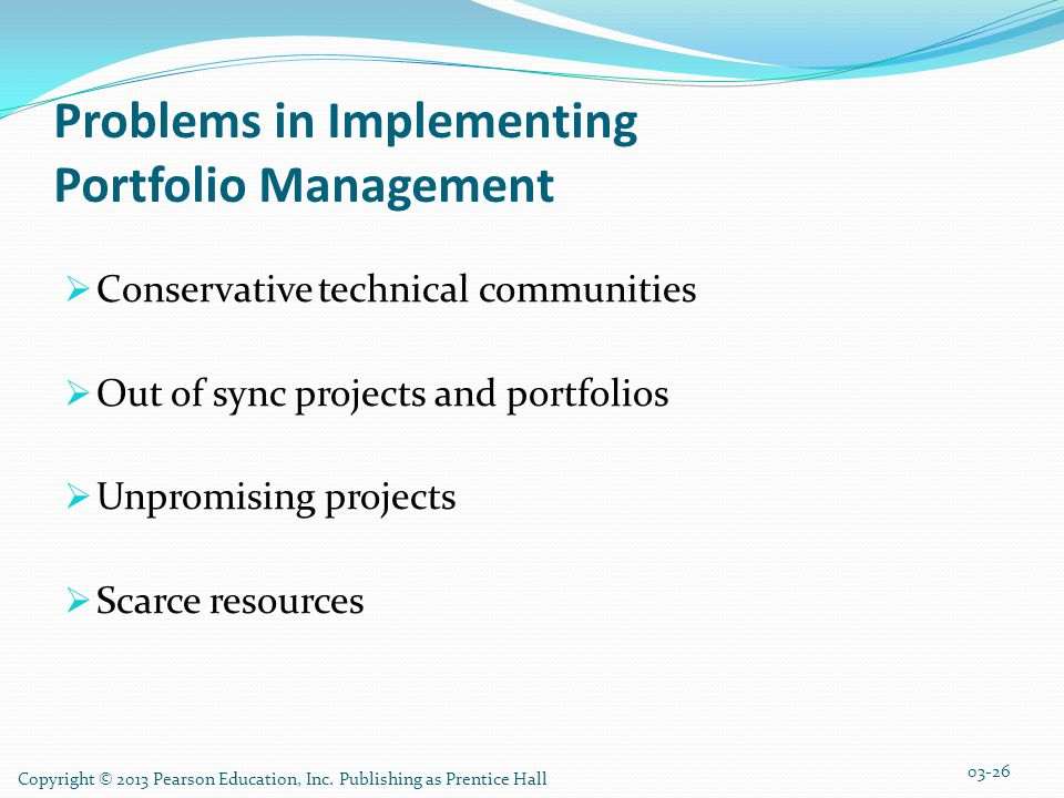 Problems in Implementing Portfolio Management