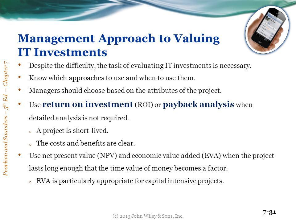 Management Approach to Valuing IT Investments