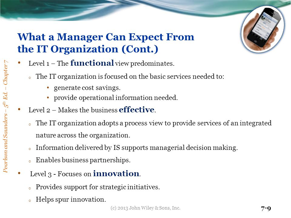 What a Manager Can Expect From the IT Organization (Cont.)
