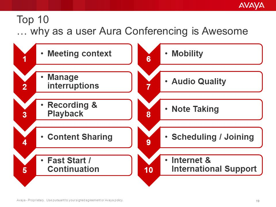 Top 10 … why as a user Aura Conferencing is Awesome
