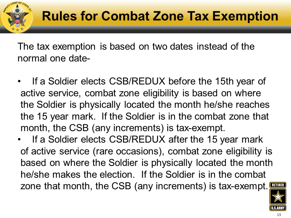 Rules for Combat Zone Tax Exemption
