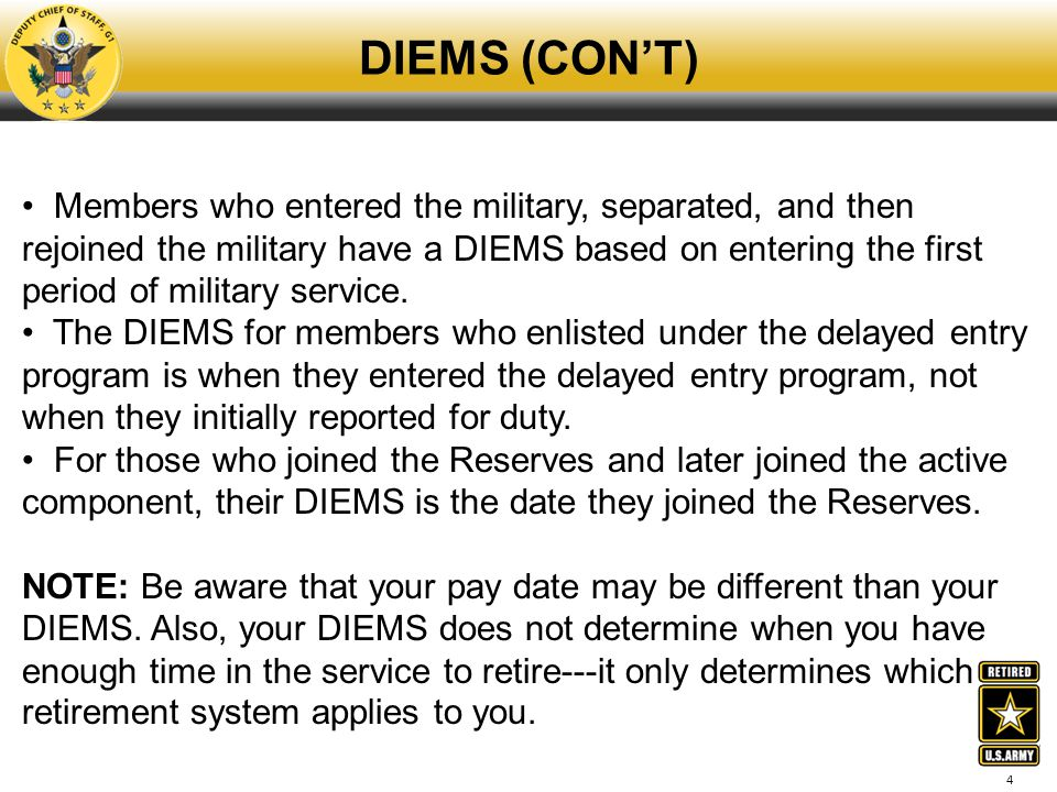 DIEMS (CON'T)