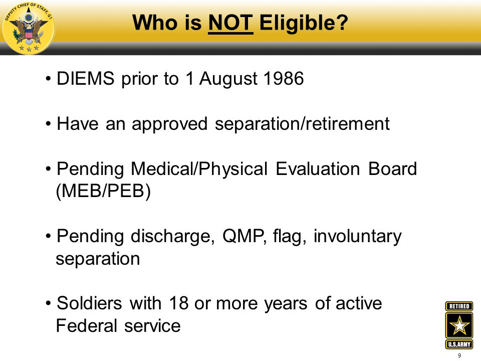 Who is NOT Eligible DIEMS prior to 1 August 1986