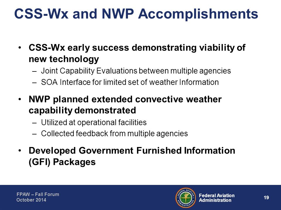 CSS-Wx and NWP Accomplishments