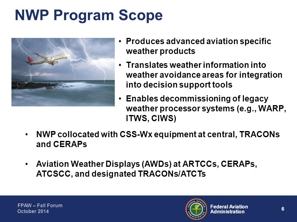 NWP Program Scope Produces advanced aviation specific weather products