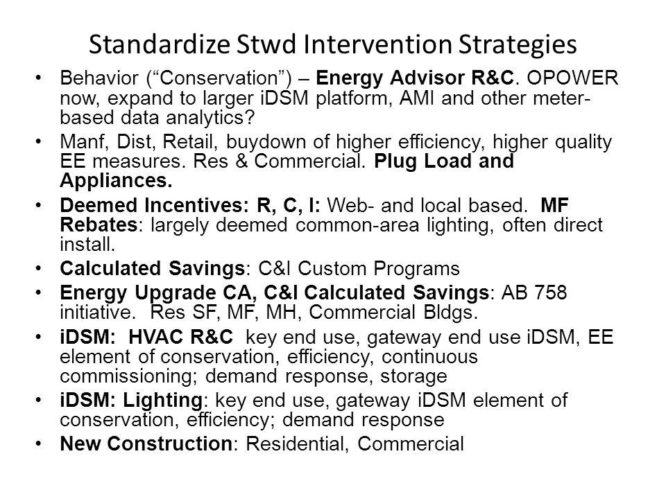 Standardize Stwd Intervention Strategies