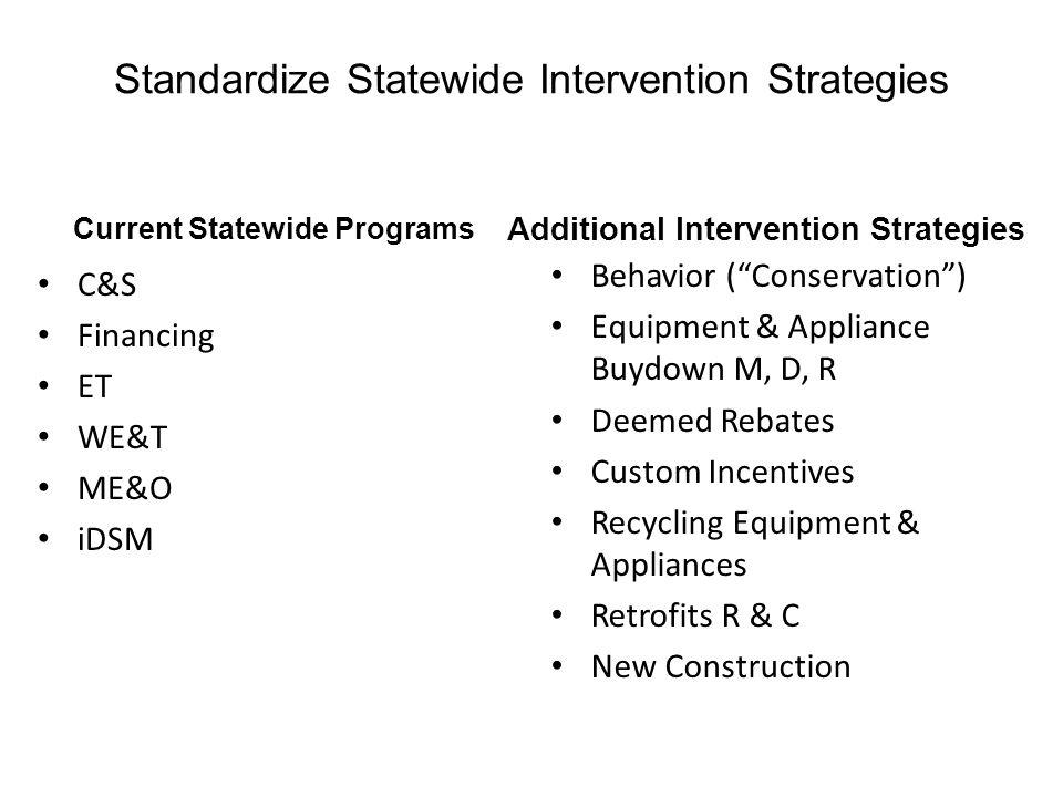 Standardize Statewide Intervention Strategies