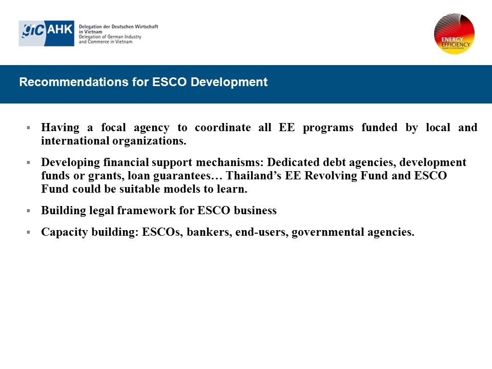 Recommendations for ESCO Development