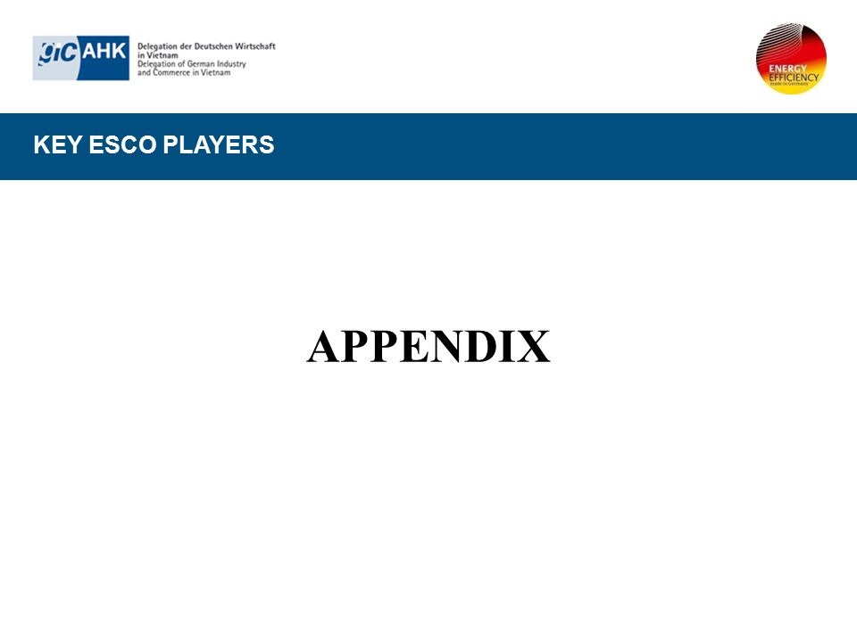 KEY ESCO PLAYERS APPENDIX