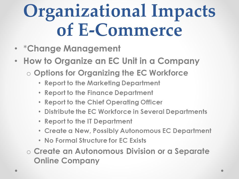 The impact of e business on an organisation